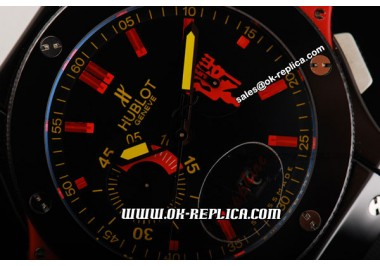 Hublot Big Bang Red Devil Limited Manchester United Swiss Valjoux 7750 Automatic Movement Ster PVD Case with Black Dial-Red Stick Markers and Black Rubber Strap