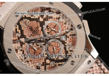 Hublot Big Bang Boa Bang Chrono Miyota OS20 Quartz Steel Case with Brown Dail Diamond/Stick/Arabic Markers and Brown Boa Leather Strap