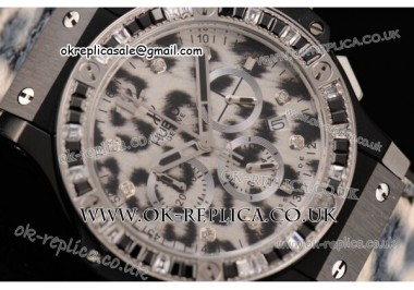 Hublot Big Bang Snow Leopard Chrono Miyota OS20 Quartz PVD Case with Leopard-print Dial and Leopard-print Leather Strap