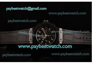 Hublot Big Bang Carbon 1:1 Original Chrono 301.QX.1740.GR Black Dial Stick Markers Black Leather Strap Carbon Fibre Watch